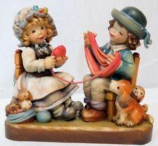 "Vintage Anri Ferrandiz 7"" Hand Painted Carved Limited Edition Boy Girl Figurine"