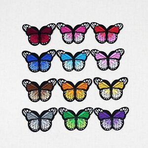 12 Color Small Butterfly Patches Embroidered Patch Iron On/Sew On Clothes Craft