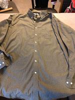 LL Bean Traditional Fit Windowpane Checks Button Up Shirt Mens XL Tall Green