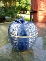 Vintage Ceramic Trinket Dish Apples Blue Print Glazed Pottery Fruit Handmade EUC