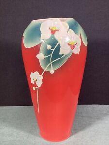 """Franz Signed Red Floral 11"""" Porcelain Vase"""