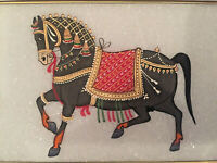 Antique Indian Painting On Stone - Festively attired Horse