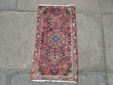 Vintage Hand Made Traditional Rug Oriental Wool Pink Red Small Rug 75x42cm