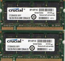 2GB (2x 1GB Kit) Dell Inspiron 2200 5150 5160 8500 8600 8600C 9200 Laptop Memory