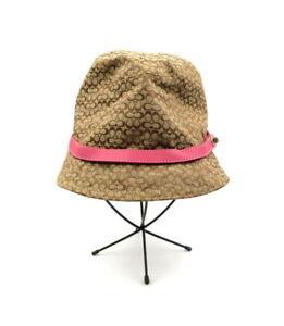 COACH Tan Beige Monogram Small C Pink Leather Bucket Hat Size M / L