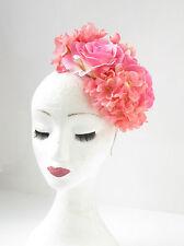 Light Pink Hydrangea Rose Flower Fascinator Headpiece Races Vtg Headband 2146