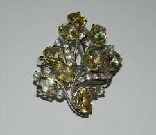 SPILLA in argento 925 con quarzi citrini e strass OMA19