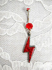 On 14g Red Cz Belly Button Ring Bright Red Glitter Inlay Pewter Lightning Bolt