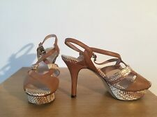 "VINCE CAMUTO tan, rose gold & gold leather strappy 4.5"" heels UK 7 VGC £200"