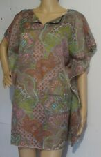 BEACH COVER UP SHORT DRESS ABSTRACT  PRINT LIGHT FABRIC MADE IN USA