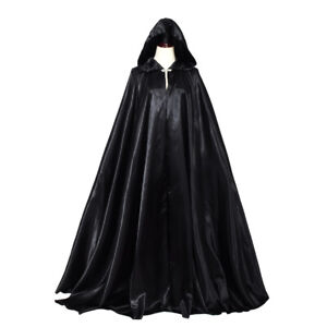 Medieval Gothic Witch Cosplay Cape Robe Hooded Cloak Halloween Party Costume