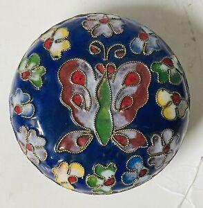 Vintage Cloisonne Round Small Floral Enameled Trinket Box