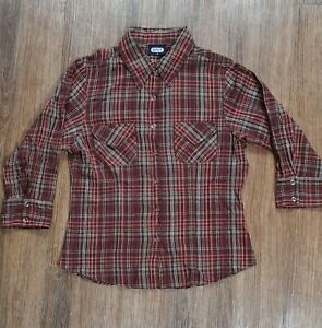 Ladies Fitted Checked Cowboy Style Shirt Mixed Colour Size 12