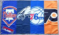 Philadelphia Teams Flag Banner 3x5 ft Phillies Eagles 76ers Flyers Man Cave