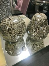 PAIR OF GLASS DISPLAY ORNAMENT FRUIT, MOSAIC CHAMPAGNE APPLE AND PEAR