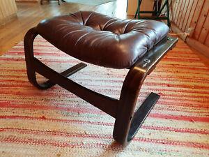 Vintage Stool Leather 60er Ottomane Retro Footrest Danish Westnofa Age 70er 3