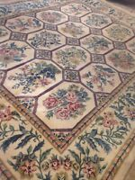 Spectacular Old Abossan Thick Area Rug  8 X 10 Wool  Hand Knotted Circa  1980
