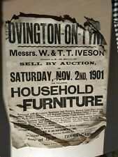 Original 1901 letterpress poster for Ovington, Northumberland.