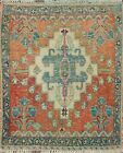 Vintage Geometric Tribal Abadeh Area Rug Hand-knotted Wool Oriental 2'x2' Square