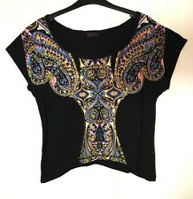 BLACK PINK PAISLEY LADIES CASUAL PARTY CROPPED TOP MISS SELFRIDGE SIZE 8