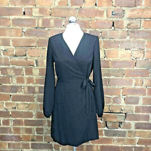 Black Wrap Dress Long Balloon Sleeves Size 12 BNWOT Work Business Classic Smart