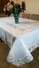"Solid Creamy White 72x90"" Embroidery Organza Tablecloth Napkins Wedding Bridal"