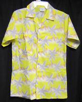 Small Tropicana Hawaiian Shirt yellow with Gray Palm Trees and Orange Dunes