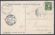 EGYPT SWITZERLAND 1909 INBOUND POST CARD TO RAMLEH VIA TPO TRAVELING POST OFFICE