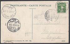 EGYPT SWITZERLAND 1909 INBOUND POST CARD TO RAMLEH VIA TPO TRAVELING POST OFFICE