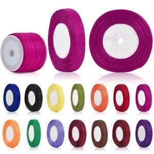 50 Yards Sheer Lots Organza Ribbon Bows 3/6/10/15/20/25/38/50mm Wedding Supply