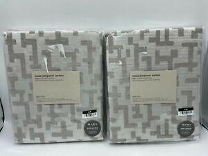 "New West Elm Maze Jacquard Drapes 48"" x 96"" ~Frost Gray~ Set of 2 Drapes"