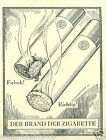 Germany Cigarettes Fire Smoking TOBACCO HISTORY HISTOIRE DU TABAC IMAGE CARD 30s