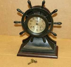 "Chelsea Ship's Bell Clock Mariner 6"" Dial     Rare Black Model  WM Wise & Son"