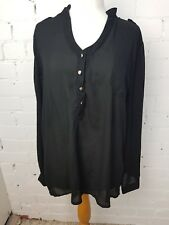 RIUYIGE BLACK SHEER BLOUSE SHIRT WITH SILVER BUTTONS - SIZE 18-20 BNWT