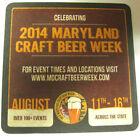 2014 MARYLAND CRAFT BEER WEEK 4 inch COASTER Mat, August 11-16, 2014