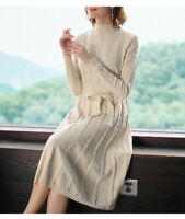 Women's Winter Autumn Warm Long Sleeve Knitted Belt Sweater Dress Pullover Tops