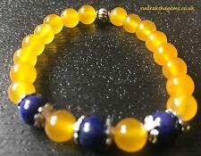 Healing Gemstone yeloow Jade & Lapis Lazuli  DREAM bracelet Heart Chakra Yoga