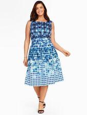 NEW $189 TALBOTS Blue Gingham & Floral Fit & Flare Dress Sz 18WP,18W Petite