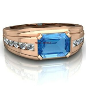 Natural Blue Topaz Gemstone with Rose Gold Plated 925 Sterling Silver Ring AJ412