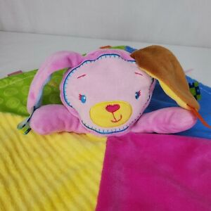 Taggies Pink Puppy Dog Baby Blanket Plush Satin Tags Lovey Security