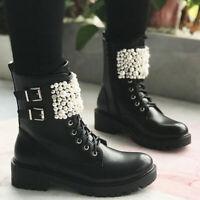 Damen Stiefeletten Winterschuhe Schnallen Boots Ankle Stiefel Warm Schneestiefel