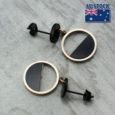 Women  Fashion 18K Rose Gold Filled Round Plate Hoop Dangle Drop Stud Earrings