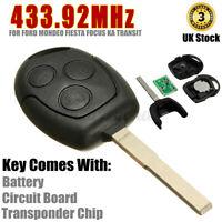 3 Tasten 433MHZ Schlüssel Funkschlüssel Gehäuse Für Ford Mondeo Fiesta  63 Chip