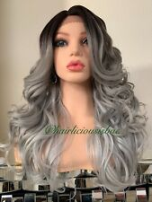 "silver gray wig Black Ombré Lace Front Wavy Layered Heat Resistance Ok 22"" Long"