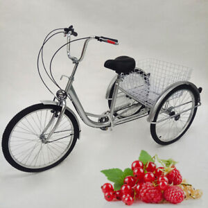 """24"""" 6-Speed Adult Tricycle 3-Wheel Bike Cruise Trike w/ Basket for Shopping New"""