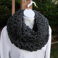 INFINITY SCARF LOOP COWL Black Gray Grey Handmade Large Bulky Thick Soft Winter