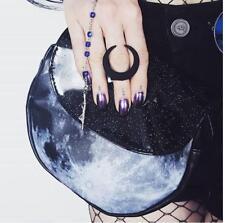Black Moon CRESCENT MOON MAKEUP BAG Clutch HOLOGRAPHIC GLITTER Vegan NEW