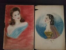 Drawings Pin Up Girl Movie Stars Illustrations Art School Pair 195'0's on Paper