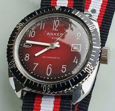 Ruhla ANKER KH Vintage Diver 36mm Oversize Armbanduhr rotes Fume Dial +++ 1970er