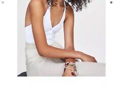 69f6766934839 Ladies Zara Buttoned Textured Swimsuit Size S White BNWT